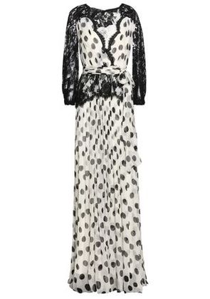 Dolce & Gabbana Woman Wrap-effect Lace-paneled Polka-dot Silk-blend Georgette Gown White Size 42