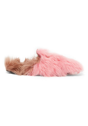 Gucci - Princetown Horsebit-detailed Two-tone Shearling Slippers - Baby pink