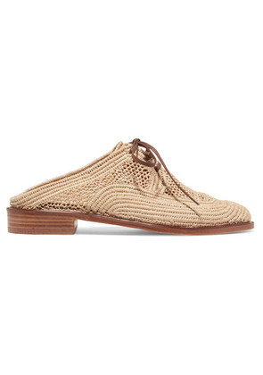 Clergerie - Jaly Lace-up Raffia Slippers - Neutral