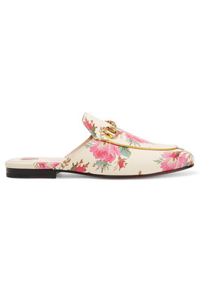 Gucci - Princetown Horsebit-detailed Printed Leather Slippers - Cream