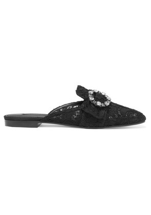 Dolce & Gabbana - Crystal-embellished Corded Lace Slippers - Black