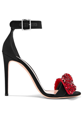Alexander McQueen - Embellished Satin Sandals - Black