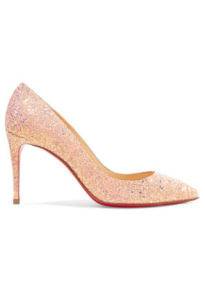 Christian Louboutin - Pigalle Follies 85 Glittered Leather Pumps - Baby pink