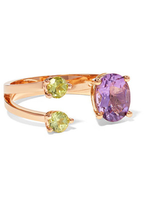Delfina Delettrez - 18-karat Gold, Amethyst And Peridot Ring - 4