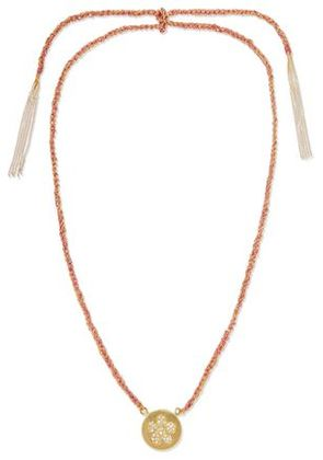 Carolina Bucci Woman Friendship Lucky 18-karat Gold, Diamond And Silk Necklace Pink Size -