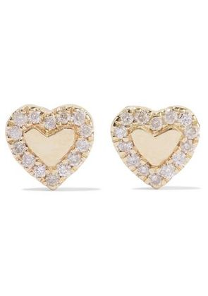 Carbon & Hyde Woman Heart 14-karat Gold Diamond Earrings Gold Size -