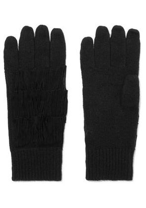 Autumn Cashmere Woman Suede-trimmed Fringed Cashmere Gloves Black Size ONESIZE