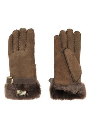 Australia Luxe Collective Woman Buckled Shearling Gloves Chocolate Size M