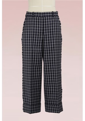 Checkered Woolen Cropped Pants
