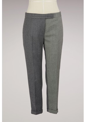 Two-Tone Woolen Cropped Pants