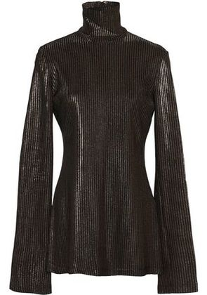 Ellery Woman Metallic Ribbed-knit Turtleneck Sweater Silver Size L Ellery