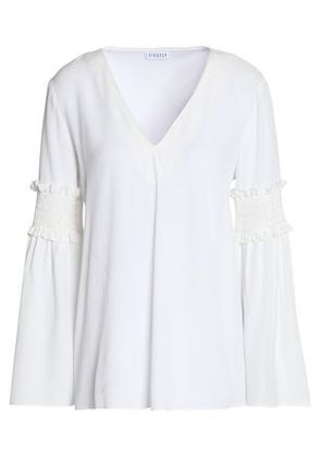 Claudie Pierlot Woman Lace-paneled Crepe Top Off-white Size 36 Claudie Pierlot Low Shipping Fee ilW3RFjs