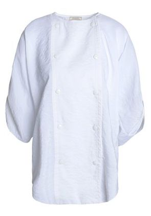 Nina Ricci Woman Double-breasted Crinkled-poplin Top White Size 36