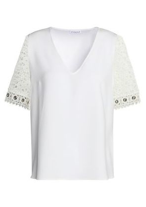 Claudie Pierlot Woman Lace-paneled Crepe Top Off-white Size 38 Claudie Pierlot Sale With Paypal Sale Factory Outlet Wiki Cheap Online Sale Visit qYcUh4t