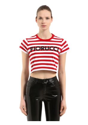 STRIPED SUPER CROPPED JERSEY T-SHIRT