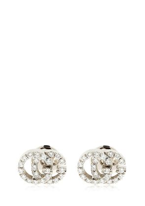 18KT WHITE GOLD & DIAMOND GG EARRINGS