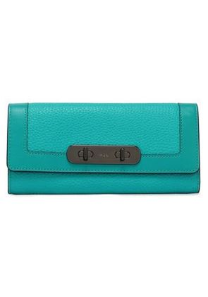Pebbled Tamaño Leather Coach Monedero Mujer Turquesa Continental fZqgwgO5