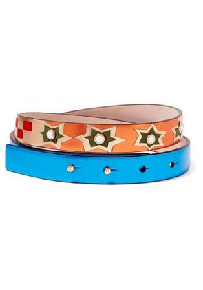 Valentino Woman Embellished Metallic Textured-leather And Suede Belt Blue Size 65