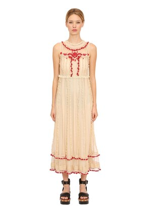 EMBROIDERED RUFFLED LACE LONG DRESS