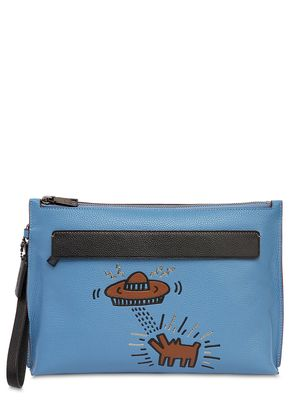 KEITH HARING PRINTED LEATHER ZIP POUCH