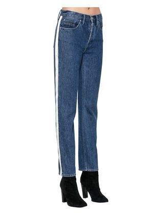 HIGH RISE DENIM JEANS W/ SIDE BANDS