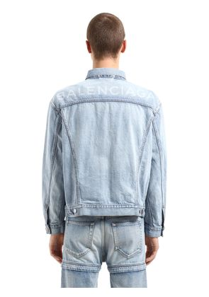 OVERSIZED BACK LOGO COTTON DENIM JACKET