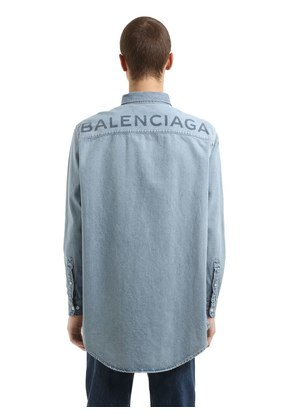 OVERSIZED BACK LOGO COTTON DENIM SHIRT