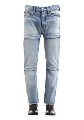 ADJUSTABLE LENGTH COTTON DENIM JEANS