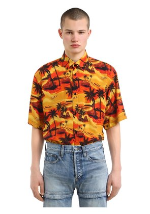 HAWAIIAN PRINT POPLIN SHORT SLEEVE SHIRT