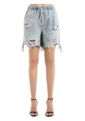 DRAWSTRING DESTROYED DENIM SHORTS