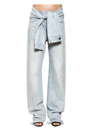 STRAIGHT LEG DENIM JEANS W/ SLEEVES