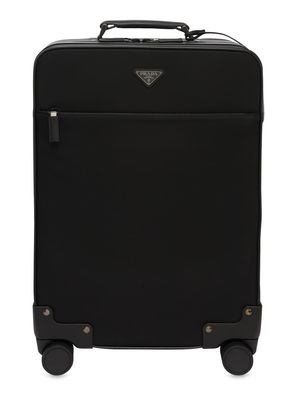 LEATHER & NYLON SPINNER TROLLEY