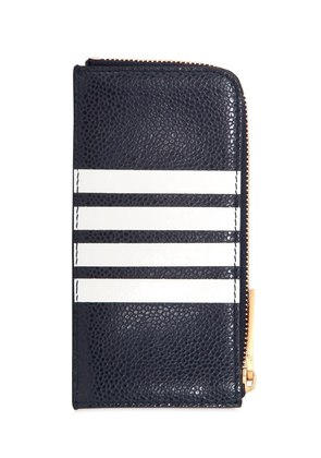 ZIP AROUND LEATHER WALLET W/ STRIPES