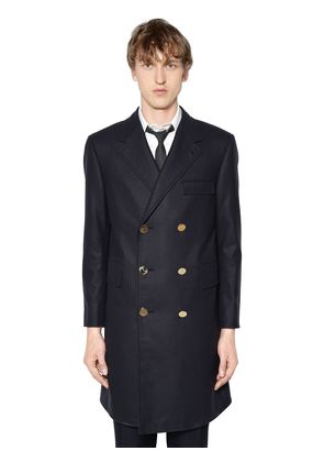 MELTON WOOL TRENCH COAT W/ BACK BELT