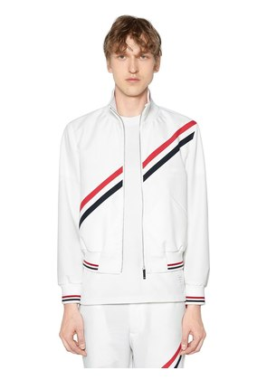 ZIP-UP NYLON TRACK JACKET W/ STRIPES