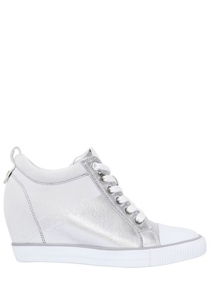 70MM RORY METALLIC CANVAS WEDGE SNEAKERS