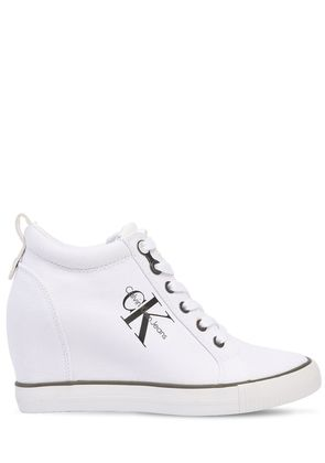 70MM RITZY COTTON CANVAS WEDGE SNEAKERS