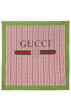 GUCCI ROSE PRINTED SILK FOULARD