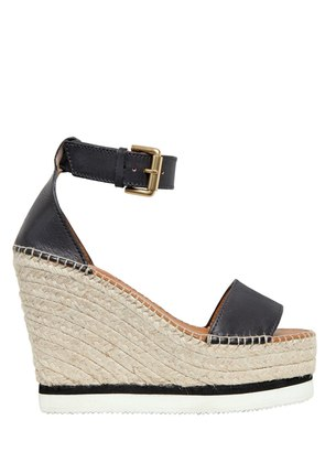 120MM LEATHER WEDGE SANDALS