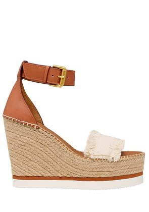 120MM CANVAS & LEATHER WEDGE SANDALS