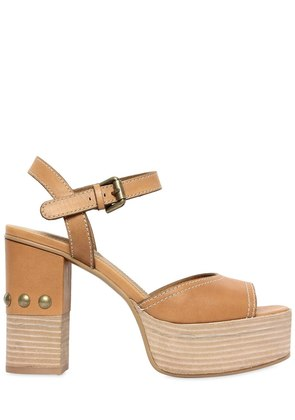 105MM LEATHER SANDALS W/ STUDS