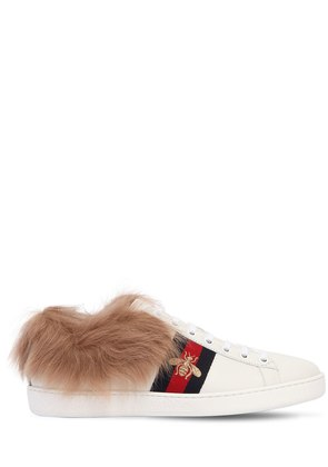 NEW ACE LEATHER & FUR SNEAKERS