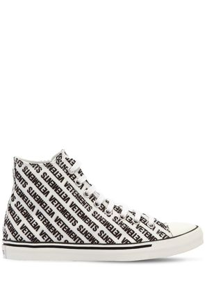 LOGO PRINTED CANVAS HIGH TOP SNEAKERS