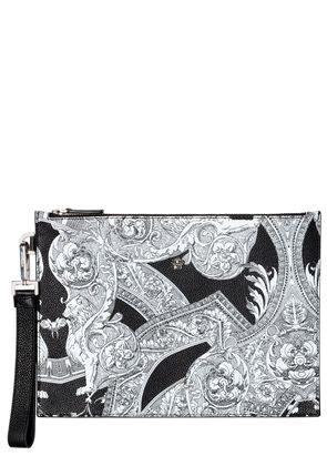 BAROQUE PRINTED LARGE LEATHER POUCH