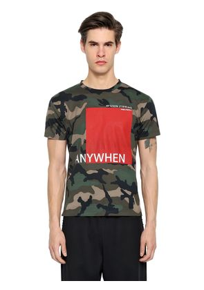 ANYWHEN PRINT CAMO COTTON JERSEY T-SHIRT