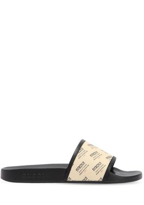 PURSUITE LOGO PRINT RUBBER SLIDE SANDALS