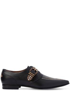 FOSTER CRYSTALS LEATHER MONK STRAP SHOES