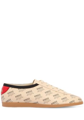 FALACER LOGO PRINTED LEATHER SNEAKERS
