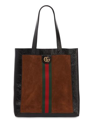 SUEDE TOTE BAG W/ LOGO BAND