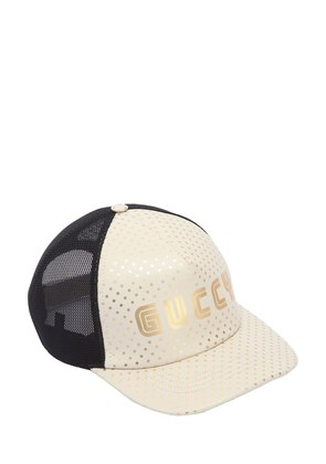LOGO PRINT LEATHER & MESH HAT